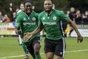 Burgess Hill Town defender Cheick Toure (right) celebrates scoring against Wealdstone in the FA Cup in 2017.