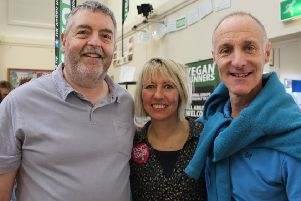 Vegan Fest Horsham organiser Helen Crabb (centre) with her partner Graeme Skipper (left) and brother Simon Crabb (right) SUS-190227-160208001