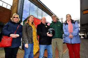 Temporary library site in Burgess Hill town centre. Robert Eggleston,with fellow Lib Dems with a bowling ball looking forward to the new bowling facility but concerned about the long term future of the library. 18/03/19 Pic Steve Robards SR1907372 SUS-190318-160151001
