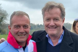 Chairman of Newick Rugby Football Club Wayne Thomas with school friend Piers Morgan at the charity match. Photograph: Chris Griffiths