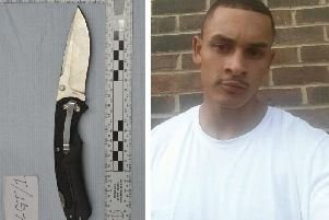 The prosecution say Arnold Potter (right) was stabbed to death with a knife similar to this police replica. Picture: Sussex Police
