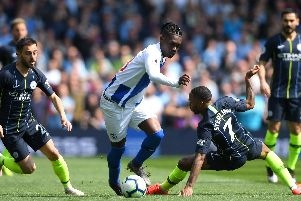 Action from Brighton's Premier League match with Manchester City. Picture by Getty Images