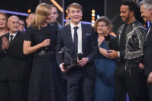 Billy Monger winning the Helen Rollason Award at the BBC Sports Personality of the Year Show in Birmingham. Picture courtesy of the BBC.