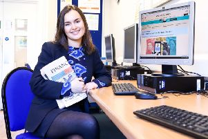 Sofia Comper-Cavanna with the issue of the Financial Times in which her blog is printed