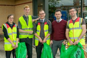 The team of McDonald's works who help with the litter pick