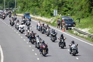 Hundreds of Hells Angels bikers rode down the A23 to Brighton