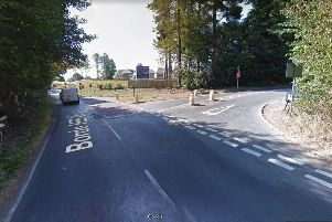 Proposed site of new roundabout at junction of Balcombe Road,  Borde Hill Lane and Hanlye Lane (photo from Google Maps Street View).