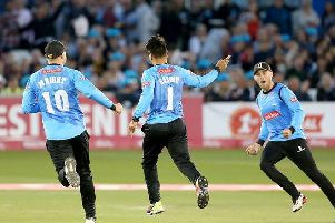 Rashid Khan in wicket-taking action for the Sharks last year / Picture: Sussex Cricket