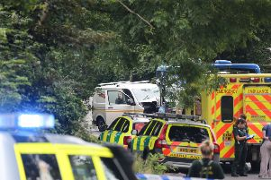 Emergency services at the scene of the bus crash in Crawley today: Photo: Eddie Mitchell SUS-190108-154309001