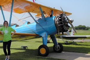 Gayle Howard taking part in the wing walk for St Peter and St James Hospice