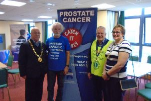 From left to right: Councillor Bruce Forbes Chairman MSDC, Roger Bacon Prostate Cancer Support Group, Lion President John Carter and Town Mayor of Burgess Hill Jacqui Landriani