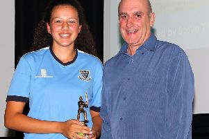 Tia Joseph collecting her 'Best Batter South-East' award. Picture courtesy of John Vowles.
