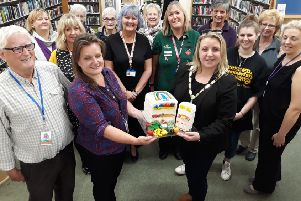 Littlehampton Community Fridge founder Sarah Ranfrey and Littlehampton mayor Tracey Baker with supporters at Littlehampton Library
