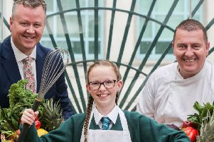 The second annual Mount Charles Big School Cook Off in association with the Irish News has been launched, with entries now open for pupils between the ages of 11-14 years old across Northern Ireland and Donegal. ''L-R: Cathal Geoghegan, Managing Director of Mount Charles, Ella Geoghegan and Simon Toye, Group Development Chef at Mount Charles.