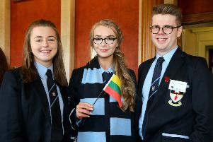 "Cookstown High : From left: Bethany Greer, Zoe Seymour and James Marks recently put their debating skills to good use when they represented the Lithuania at this year�""s Mock Council of the European Union. The event, which is now in its 13th year, is organised by British Council Northern Ireland and the European Commission Office in Northern Ireland and saw 18 schools from across Northern Ireland tackle two topical issues: the future EU-UK relationship and how the European Union will need to develop to deal with the challenges of the 21st Century."