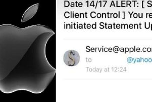 A screenshot of the email scam, purporting to be from tech giant, Apple.