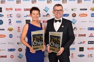 Kate McVeigh and Malachy Mallon on the red carpet representing the Dolphin Takeaway Dungannon as UK Top 3 Finalists for Healthy Eating, Quality Award and Marketing Innovations.