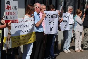 Anti-abortion protesters gathered outside Michelle O'Neill's constituency office in Coalisland on Wednesday morning.