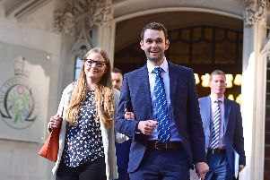 Daniel and Amy McArthur from Ashers Bakery emerge from the Supreme Court in London on Wednesday. (Photo: P.A. Wire)