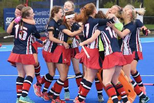 Rachel Hill is mobbed by her Ballyclare team mates after scoring the vital goal