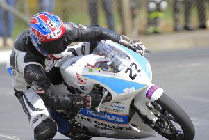 Magherafelt man Paul Jordan in action in the Moto3/125GP race at the Cookstown 100 last year.