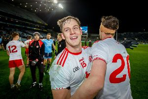 Kieran McGeary and Colm Cavanagh celebrate after defeating Dublin in Croke Park. (Photo: �INPHO/Oisin Keniry)