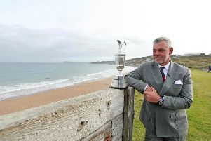 Former Open Champion Darren Clarke with the famous Claret Jug trophy at Royal Portrush which stages the 148th Open in July 2019