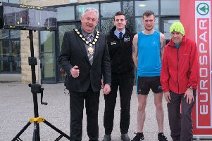 Pictured launching the Maghera 10K and 5K 2019 event are Chair of Mid Ulster District Council, Councillor Sean McPeake; Tommy and Eoin Hughes; and Nathan Speirs, Eurospar Maghera.
