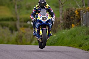 Derek Sheils sealed pole in the Superbike class on the Burrows Engineering/RK Racing Suzuki during practice at the KDM Hire Cookstown 100 on Friday. Pictures: Pacemaker Press.