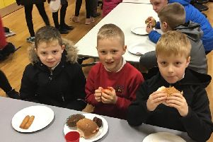 Enjoying the Big Breakfast at Spires Integrated Primary School, Magherafelt.