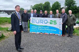 Partners and sponsors unite on Mid Ulster Councils coarse angling facility at Portglenone ahead of the world-renowned coarse fishing championships set to take place on the Lower River Bann in less than a months' time.  Pictured are Chair of Mid Ulster District Council, Councillor Martin Kearney, Stephen Douglas, Waterways Ireland, Councillors Ian Milne and Sean McPeake, Edward Montgomery, Honorable Irish Society and Oliver McGauley, Hon. President of the National Coarse Fishing Federation of Ireland.