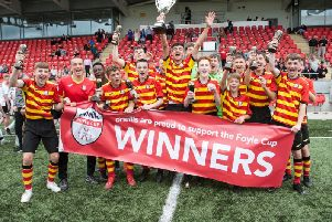 Partick Thistle celebrate their success at the 2019 O'Neill's Foyle Cup.