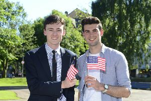 "Stranmillis: Student Samuel Curry (right) is pictured with Study USA programme officer, Daniel Lowe. He is among 54 students who have been selected to take part in the British Council�""s prestigious Study USA programme, where they will spend a year studying business or STEM-related subjects in the USA.  The programme is managed by the British Council on behalf of Department of Economy. For more information on the programme, visit http://nireland.britishcouncil.org, follow on Twitter: BCouncil_NI and on Facebook: www.facebook.com/britishcouncilnorthernireland."