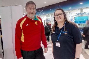Barbara Kennedy from Mid Ulster Volunteer Centre with Simon Holmes of Mid Ulster Athletics Club pictured at the Volunteer Fair in Meadowlane Shopping Centre, Magherafelt.