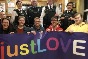 Mid Ulster Pride Committee with members of a local Neighbourhood Policing Team from Coalisland.'Back row: Alexis Cox, Front row: Louise Taylor, Elise Hughes, Jonathan Campbell, Cathal Ocianian, Stephen Kennedy.