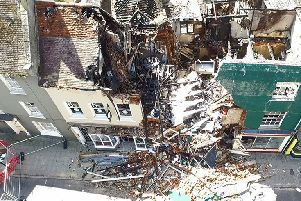 Drone's eye view of wreckage after Stony Stratford fire