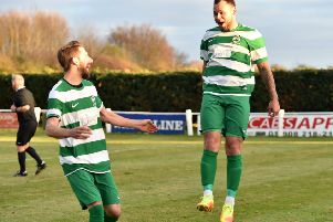 Dom Lawless celebrates for Newport Pagnell