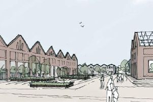 An artists impression of how part of the Wolverton Works regeneration will look if given approval once again