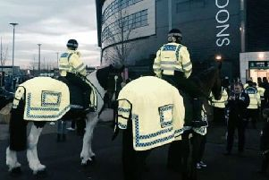 Mounted Police patrolling a match at MK Dons : Picture courtesy of Thames Valley Police