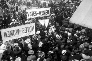 Library picture dated circa 1910 of suffragettes gathering
