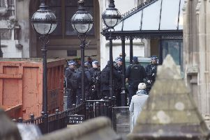 Armed officers deployed inside the Palace of Westminster. Picture: Kirsty O'Connor/PA Wire