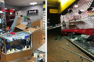 Pictures show the damage to the Cash Converters store in Queensway, Bletchley