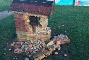 Willen Hospice's wishing well containing a collection box was severely damaged