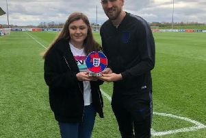 Georgie Kilkenny with England footballer Harry Kane