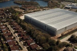 An aerial picture of the warehouse in Blakelands
