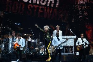 Rod Stewart performing in MK where he was supported by Johnny Mac And The Faithful. Pictures by Jane Russell.