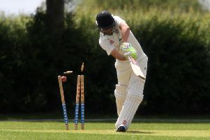 Eaton Bray's Andrew Norris gets bowled