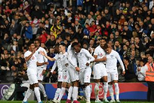 England Under-21s celebrate one of their five goals against Austria at Stadium MK on Tuesday (Pictures: Jane Russell)