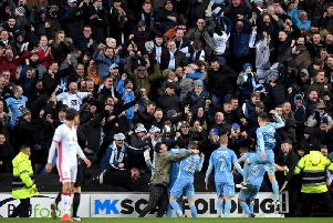 Coventry City supporters celebrate the only goal of the game during their 1-0 win at Stadium MK in January, 2018