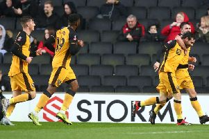 Port Vale celebrate at Stadium MK